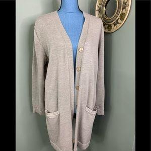 Jones New York Tunic Sweater Cardigan Ecru XL